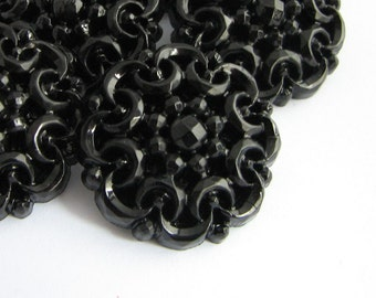 Large Black Buttons, 6 big plastic buttons, 1 inch across Lacy shank buttons, NEW