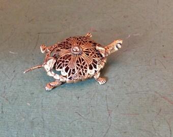 Filigree Turtle Brooch
