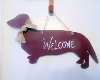 Welcome Reddish brown Dachshund Door Hanger