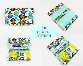 Instant download PDF sewing tutorial and pattern, make your own first aid pouch, diy sewing makeup bag, fold over medicine organizer