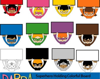 Superhero clipart - teacher clipart - Superhero holding colorful rainbow sign boards - commercial use, printable clipart