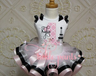 For all ages - Paris Poodle tutu outfit - Eiffel Tower - Pink silver black - Can be customized