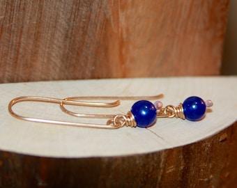 Delicate Dangle Earrings, Blue Dangle Earrings, Dark Blue Earrings, Sterling Silver Minimalist Earrings, by Birch Bark Design