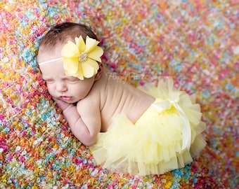 Yellow Tutu Bloomer and Headband, Tutu Bloomer, Baby Bloomer, Baby Prop, Newborn Photo Prop, Diaper Cover, Baby Girl Prop FREE SHIPPING