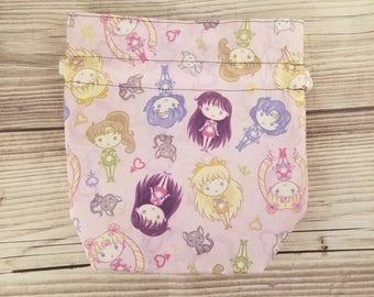 Sailor Moon bag, Project bag, Kawaii bag, Sock Knitting, Anime bag, small Drawstring Bag, Yarn Storage bag, knitting bag, Cosmetic bag