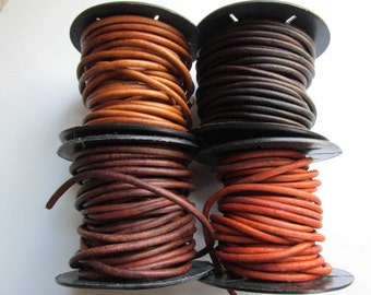 3mm Natural Dye Leather Cord, Leather Cord, 3mm, Round leather cord, thick leather cord, leather, ClassicBead