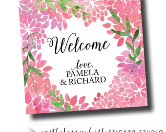 Watercolor welcome sticker, watercolor welcome bag, floral welcome stickers, floral stickers, watercolor stickers watercolor gable box label