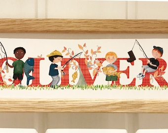 Fishing / Angling Door Plaque - Children's / Kids / name sign / Illustration