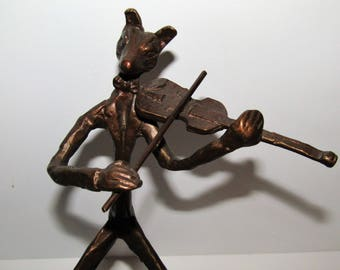 Fox Bronze Violinist Figurine