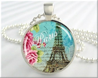 Paris Art Pendant, Paris France Jewelry, Eiffel Tower Necklace, Picture Charm, Travel Gift, Round Silver, Gift Under 20 (054RS)