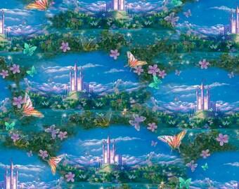 Fat Quarter Dreamland Castle Scenic 100% Cotton Quilting Fabric Fairies Fantasy