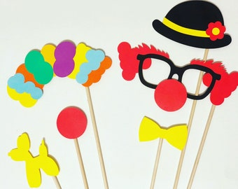 Circus party photo booth props, Clown photo booth props