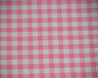 Fabric pink & white gingham cotton