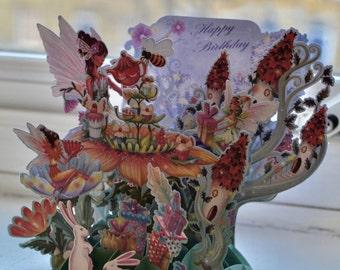 3D Fairy birthday card, Pop up card I Fairy birthday card I Birthday card I Fairy card I Fairy party I Fairy garden card I Birthday supplies
