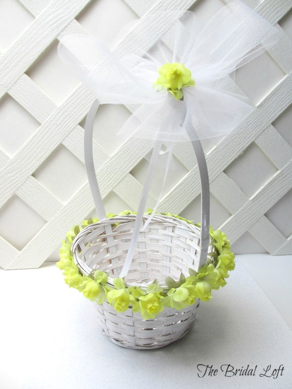 Items similar to yellow rose flower girl basket yellow wedding items similar to yellow rose flower girl basket yellow wedding basket yellow flower and white wicker flower girl basket on etsy mightylinksfo