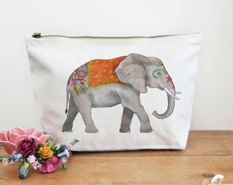 Elephant Canvas Wash Bag, Large Zipper Pouch, Makeup Bag, Toiletry Bag, Accessory Bag, Elephant Gift