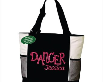 DANCER TOTE. Dancer Bag. With Name, Personalized Tote. Dance Tote. Dance Bag. Customized, Personalization Dance Tote Bag. Custom Dance Tote