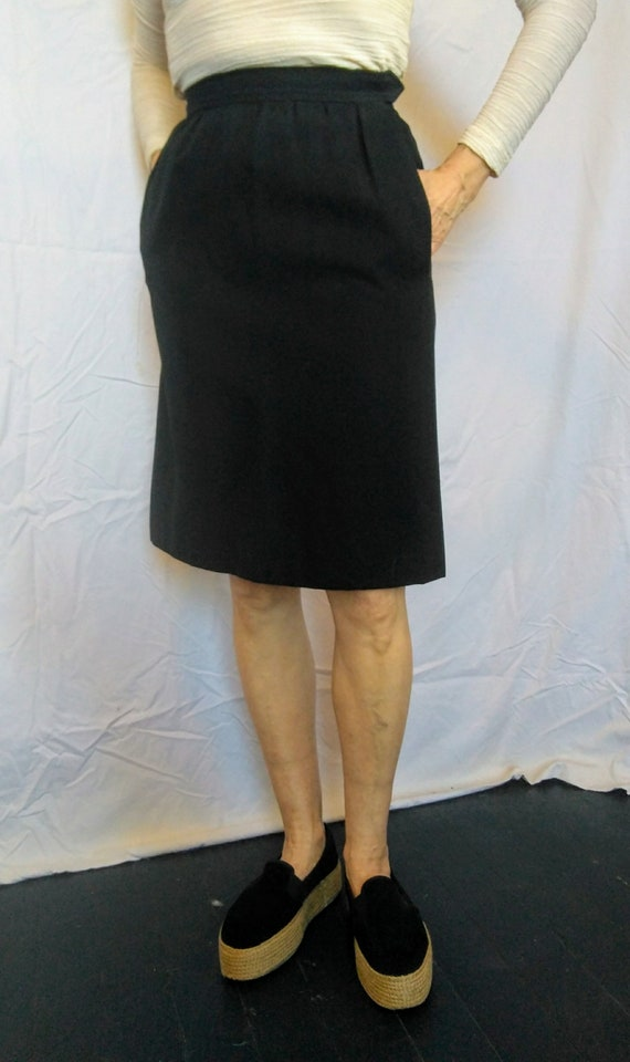 Vintage Black, heavy-weight Wool Skirt by Yves Saint Laurent - Rive Gauche.