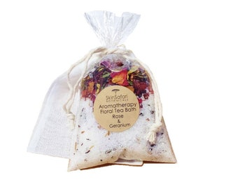 Favors Bath Tea Salts, Customized, All Natural with Essential Oils & Herbal Teas, in Bag, no mess.