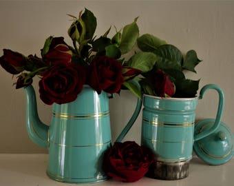 Vintage Tall Romantic French Aqua Blue Enamel Coffee Pot