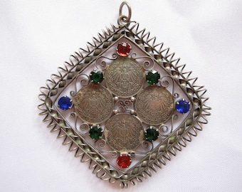 Vintage Deutsches1/2 Mark Coins Pendant with Rhinestones Coiled Edge