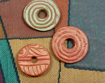 Three One of a Kind Handmade Reversible Round Ceramic Disc Beads, Red Earthenware Enhanced with Terra Sigillata, Jewelry Components