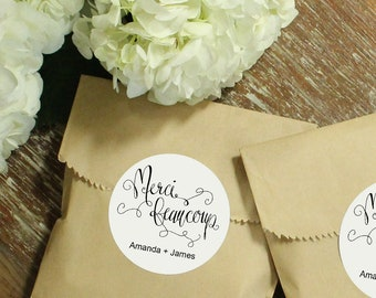 24 Paper Favor Bags - Merci Beaucoup Label | Wedding Favor Bag | Bridal Shower Favor Bag | Kraft Favor Bag | Baby Shower Favor | Calligraphy
