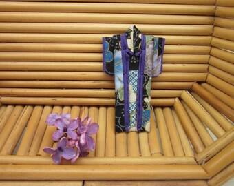 "PIN 3 inches ""Plum Flowers."" Cotton Origami Kimono Pin: Purple, Blue, Black.  Wear it. Hang It. Frame It."