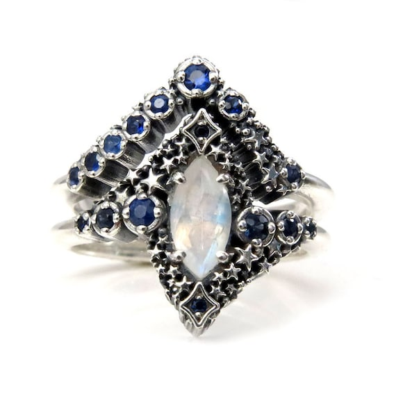 Marquise Moonstone and Sapphire Stardust Engagement Ring Set - Silver Silver - Pick Your Center Stone