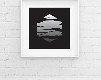 Minimal Geometric Art Print, Hexagon Giclee Art Print Gift Poster, Minimal Monochrome Art Print