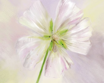 Hollyhock Flower Painting Giclee Fine Art Print on Archival Watercolor Paper 16 x 16 mixed media