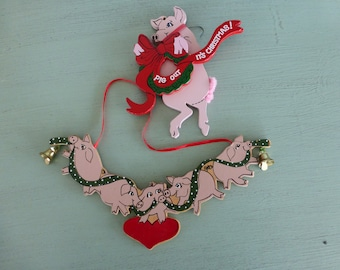 Set of 2 Vintage Wooden Pig Ornaments - excellent condition
