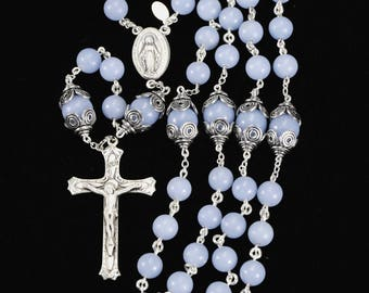 Blue Angelite Catholic Rosary Handmade Heirloom Custom Rosaries Gift for Women & Mothers, Sterling Silver, Miraculous Medal, Ornate Crucifix