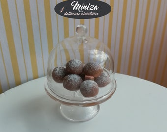 Miniature doughnuts with a glass pater, 1:12 scale
