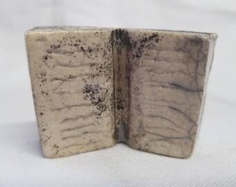 Miniature Ceramic Book Raku