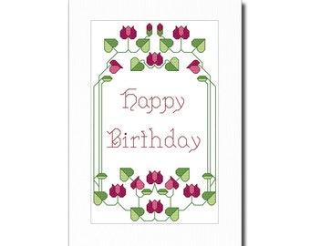 Art Deco Happy Birthday Cross Stitch Card Kit