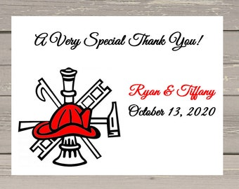 100 Personalized Custom Firefighter Fire Department Emblem Wedding Bridal Rehearsal Invitations Thank You Cards