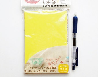 japanese rubber stamp block. diy rubber stamp. hand carved rubber stamp. stamp carving. block printing. scrapbooking. A6. soft. yellow/white