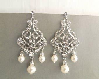 Pearl Earrings Bridal Rhinestone Earrings Swarovski Pearls Bridal Pearl Earrings Statement chandelier earrings  Wedding Pearl Earrings ALEXA