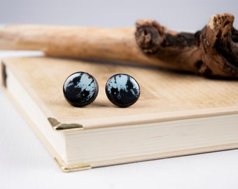 Pen And Ink - Halloween Earring - Grunge Earring - Punk Rock Gothic - Painted Jewelry - Post Earring - Polymer Clay Stud Earrings - Stud