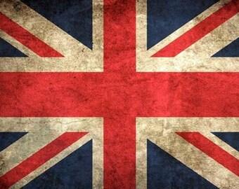 VINTAGE LOOK British Union Jack Flag Sticker (uk decal)