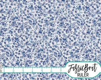 CHINA BLUE FLORAL Fabric by the Yard Half Yard or Fat Quarter Vintage Style Fabric Calico Fabric Quilting Apparel 100% Cotton Fabric w3-20