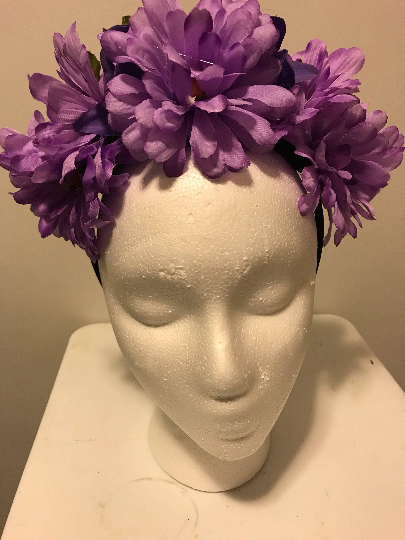 Purple Flower Crown Flower Crown Boho Flower Crown Flower