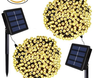 Solar Sale 2 PACK 200 LEDs 72ft. Waterproof Lights Solar Powered Outdoor String Lights  - Warm White - USA Seller - Fast Shipping