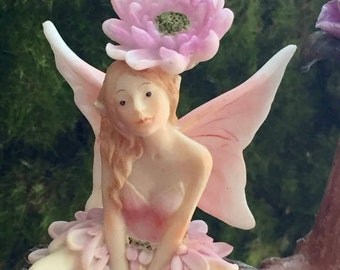 SALE Fairy Figurine, Flower Fairy Collection, Pink and White Wings, Flower on Head, #45, Fairy Garden Accessory, Mini Gardening