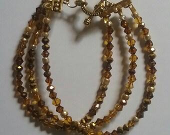 Brown Chip Multi-strand Bracelet (#145)