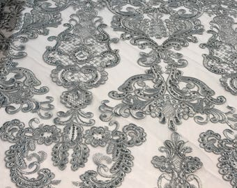 Gray Embroidered Antique King's Lace fabric by the yard