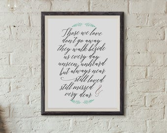 Those We Love Don't Go Away - Memorial Print Script - In Memory Of - Remembering Loved Ones - INSTANT DOWNLOAD