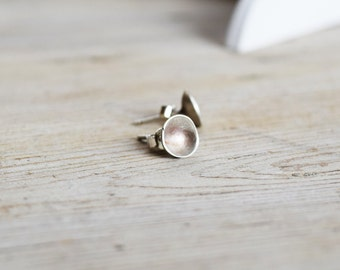 Cup studs in sterling silver, Cup Earrings, Artisan Earrings, Sterling Silver Posts, gift for her