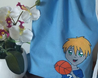 """""""Little sportsman"""" hand painted DrawString backpack"""